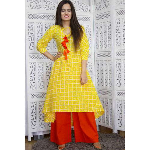 Orange Yellow Kurta Palazzo set
