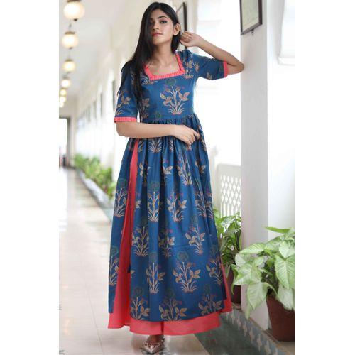 Blue Pink Overlay Dress