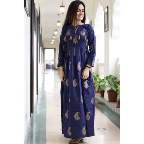 Blue Gold Block Dress
