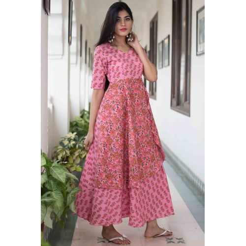 Pink Mix Print Dress
