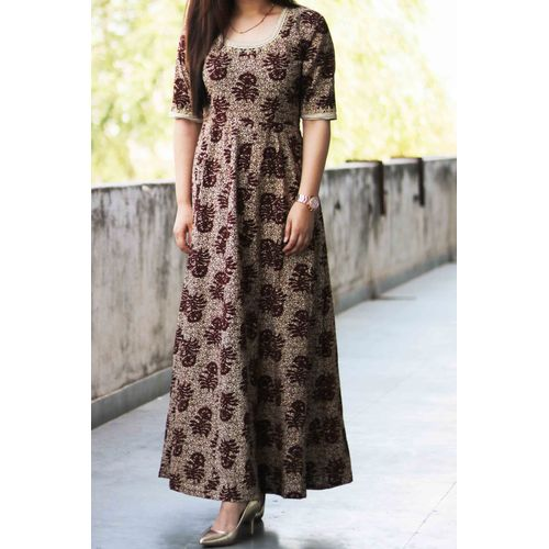 Brown B-Print Embroidered Maxi