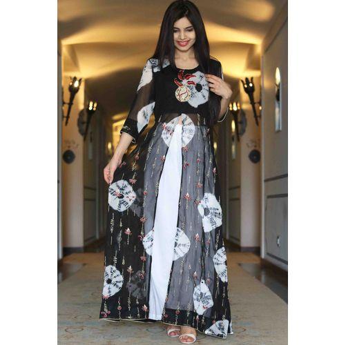 Black Tie-Dye Cape Dress