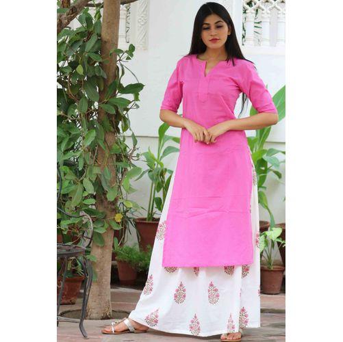 Pink Kurta With Block Print Skirt