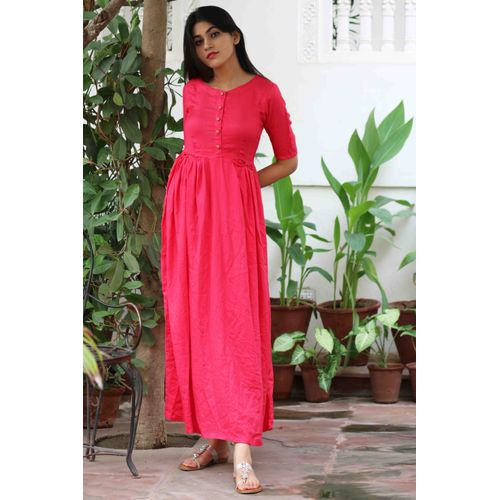 Pink Front Pleated Pocket Dress