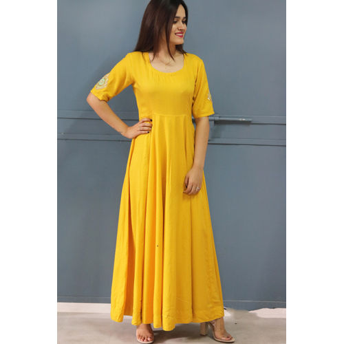Yellow Embroidered Maxi