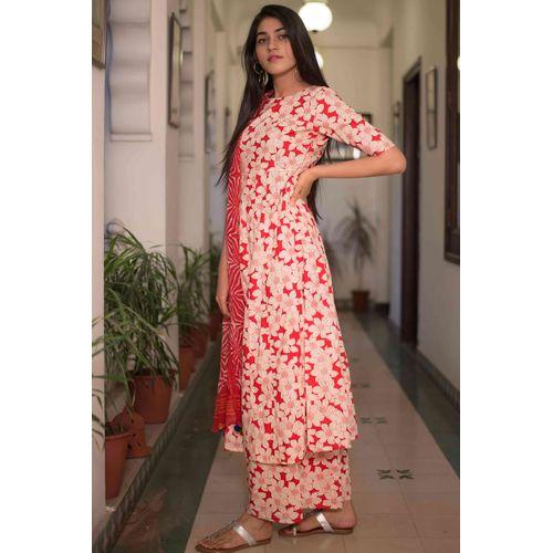 Red Floral Suit Set