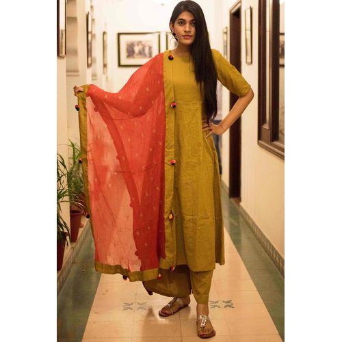 Mustard Kantha Suit Set