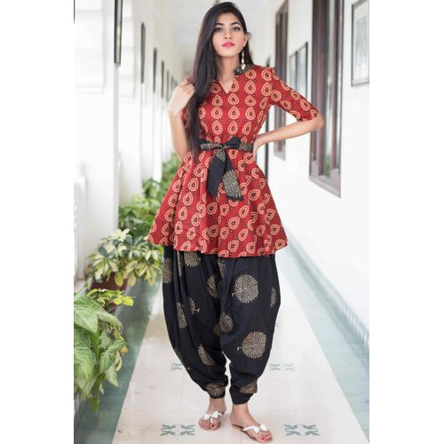 Black Red Dhoti Set