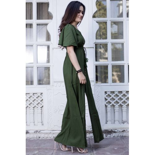 Green front open bell sleeves maxi