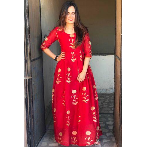Red Mughal Chanderi Dress