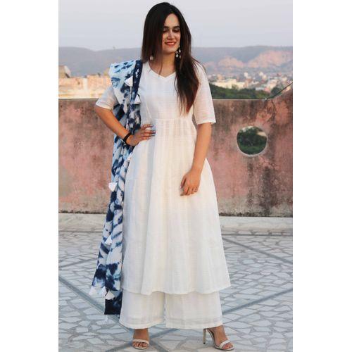 White Blue Tassels Suit