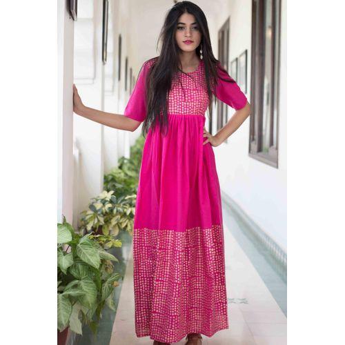 Pink Dots Block Dress