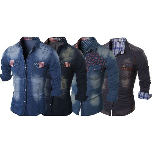 684427eadb2 Combo of 4 New Fashion Fashionable Design Men s Slim Fit Jeans Shirts