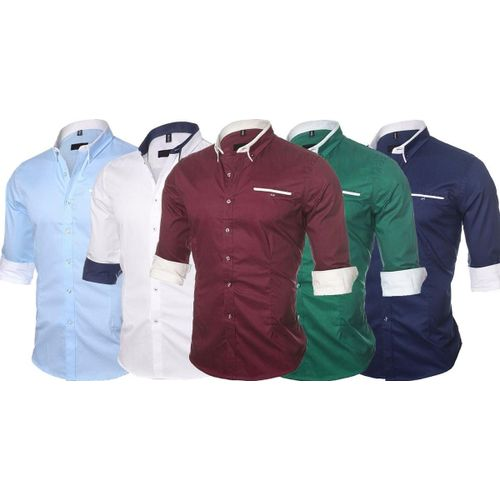 Combo Of 5 New Solid Color Casual Long Sleeve Men S Shirts