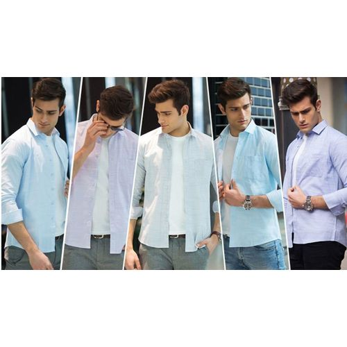 d6a10a57783 Combo of 5 New Arrival Men s Casual Fashion Solid Color Social Shirts