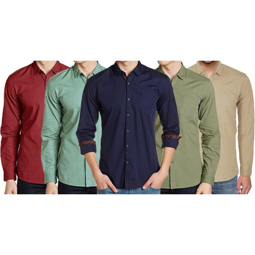15fb240e001 Sale Combo of 5 Men s Casual slim fit designer Long Sleeve striped Formal  Shirts