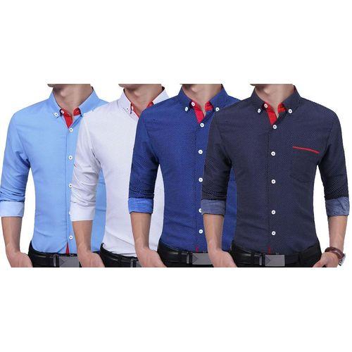 Combo Of 4 Fashion Men Clothes Slim Fit Men Long Sleeve Shirt Men Polka Dot  Casual Men Shirt 6ef93c0f5ee