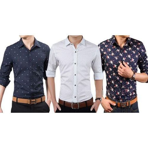7fa59134 Sale New Branded Men's 3 Printed Cotton Casual Shirts for Men