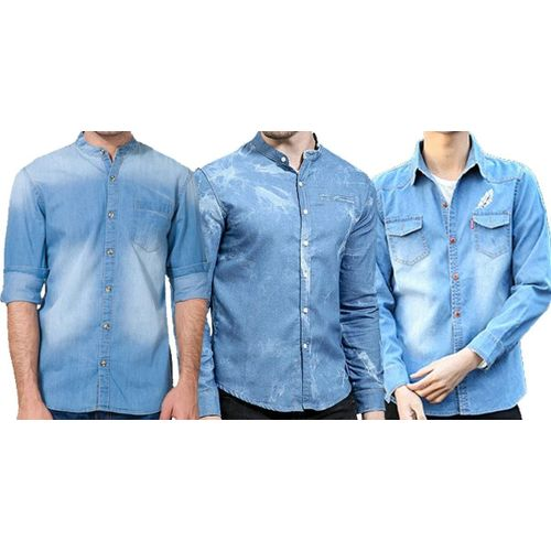 411ffbc6430 Combo of 3 New decorative blue color branded Different Style Slim Fit Men s  Cotton Jeans shirts