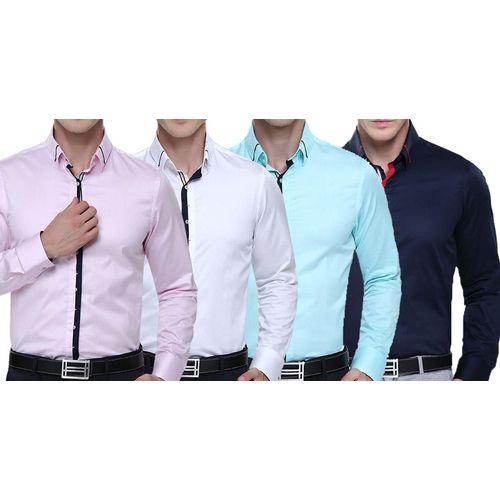Italian Design Shirts | Combo Of 4 Fashionable Italian Design Long Sleeve Original Collar