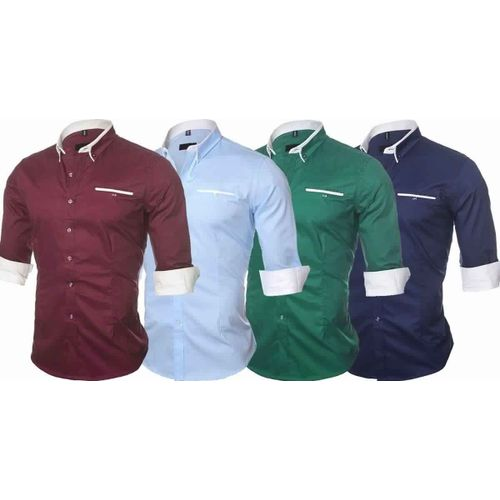 Combo Of 4 New Solid Color Casual Long Sleeve Men S Shirts