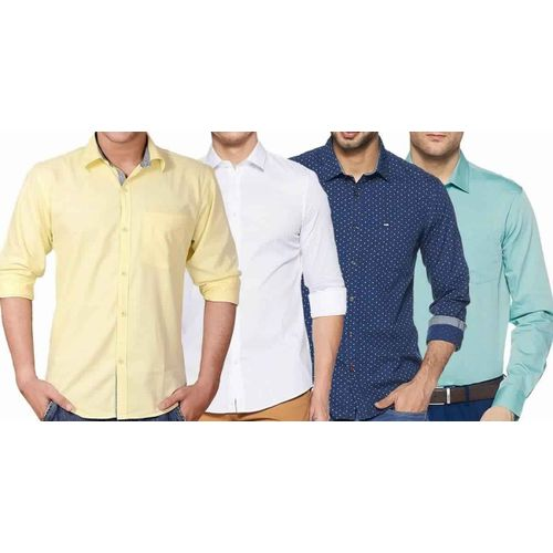 65b82c5c5 Sale Combo of 4 New Branded Men's Plain Slim Fit Long Sleeve Casual Shirts