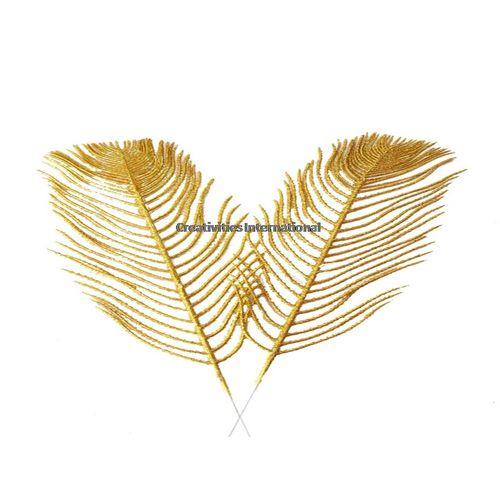 GOLDEN LONG GLITTER LEAVES