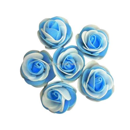 SKY BLUE & WHITE DOUBLE SHADED FOAM FLOWERS(BIG)