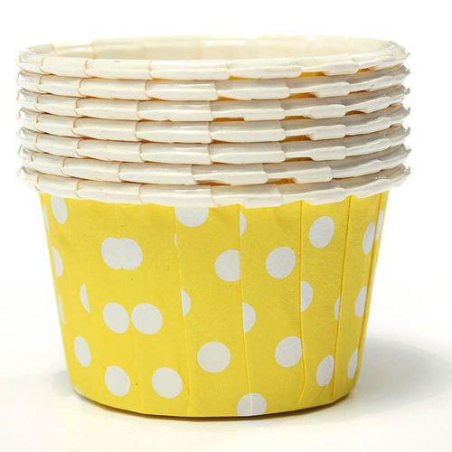 Polka Dot Design Yellow Cup Cake Liner (Medium) - Ready To Bake