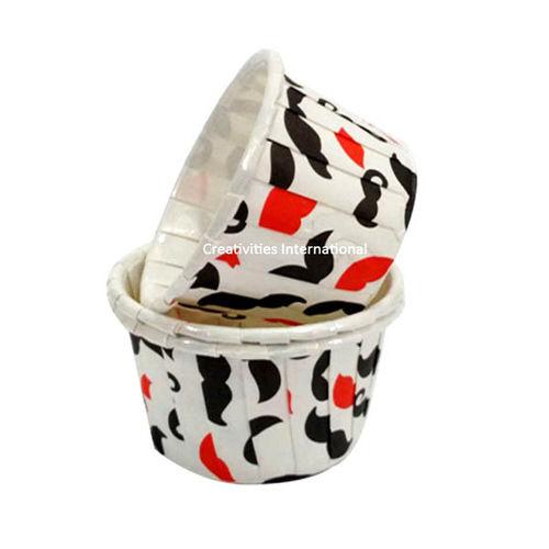 muchstach design white cup cake liner (medium) - Ready To Bake