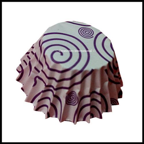 Chocolate Liners Purple Swirl Design_6 cm