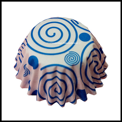 Chocolate Liners Blue Swirl Design_6 cm