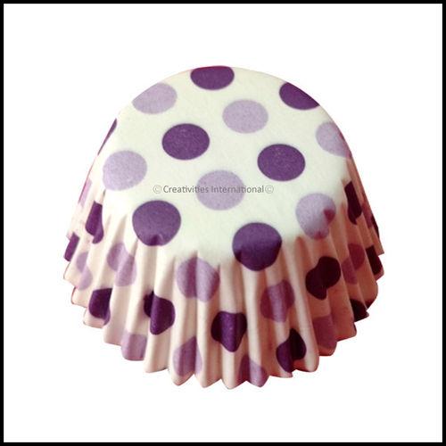 Cupcake Liners Purple Base Polka Dots_9 cm