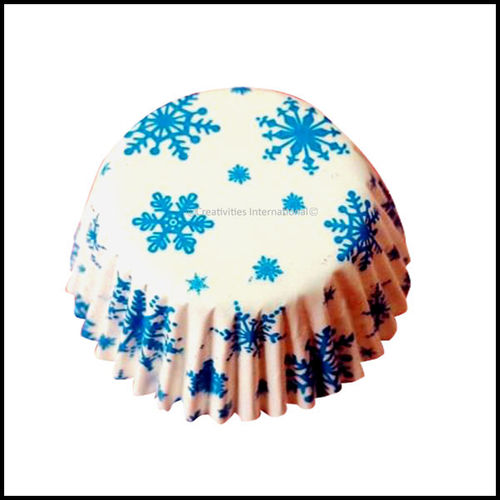 Cupcake Liners Blue Snowflake Design_9 cm