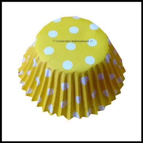 Cupcake Liners Yellow Base Polka Dots_10 cm