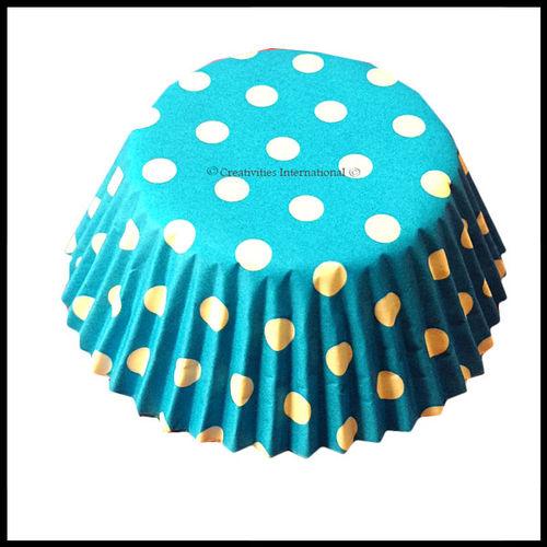 Cupcake Liners Blue Base Polka Dots_11 cm