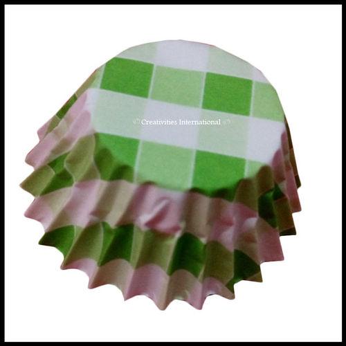 Cupcake Liners Green Checker Board _9 cm
