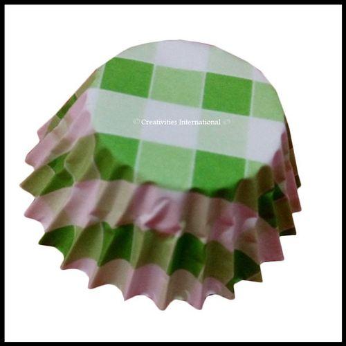 Chocolate Liners Green Checker Board _7 cm