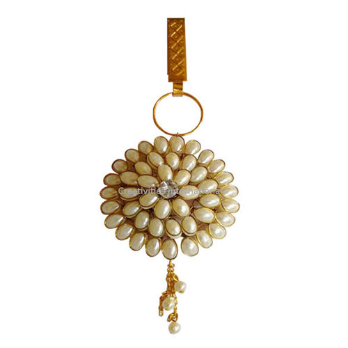 White moti design hanging Brooch