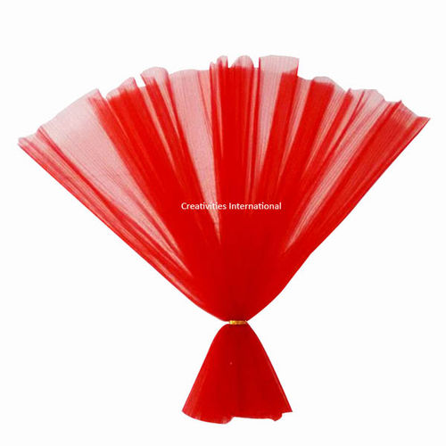 Red color netted fabric tissue sheet