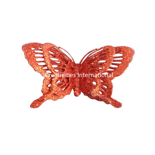 Red  Jaali Pattern Glitter Butterfly