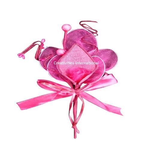 Pink Rose Jute cone Net flower