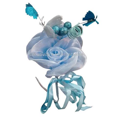 Blue Rose Butterfly Satin Flower