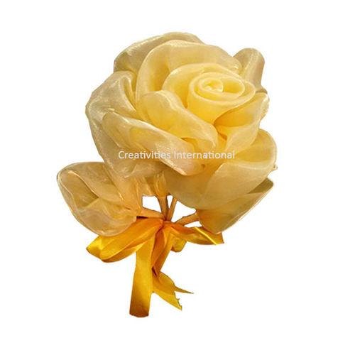 Yellow  Rose Satin Flowers