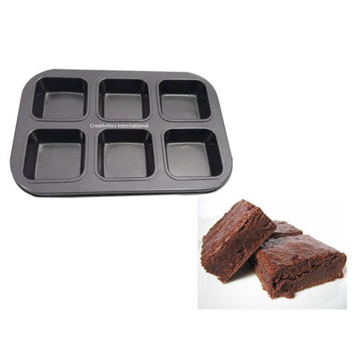 6 Cavity Brownie Square Cake Pan