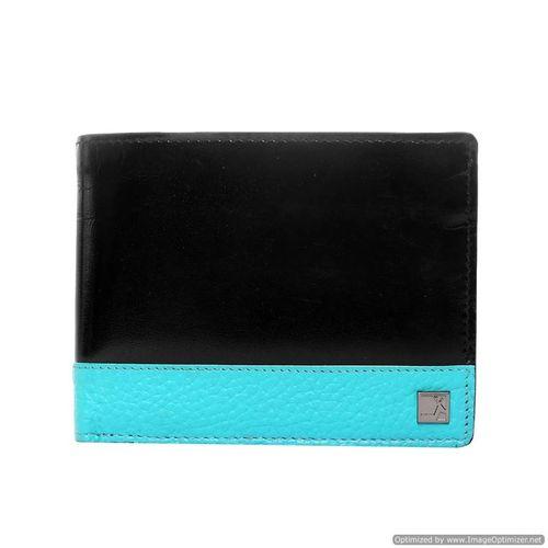 Da Milano Men's Mw-0862A Black/Aqua Leather Wallet