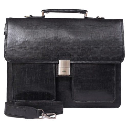 Da Milano Pf-1761 Black Matrix Leather Portfolio