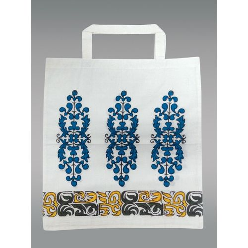 White Cora Bag With Short Handle, Printed blue flowers