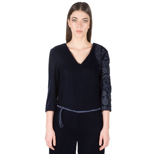 Velvet Embroidered Jumpsuit