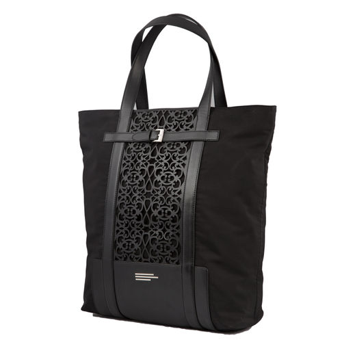 UNISEX NYLON AND FAUX LEATHER LAZERED TOTE